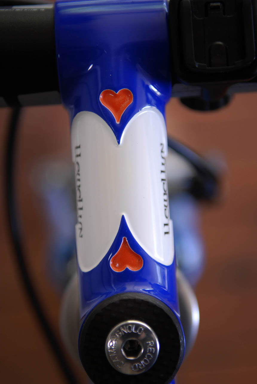 Hand painted by Joe Cosgrove Cycle Design, a lugged stem with hand filed heart shaped cutouts.