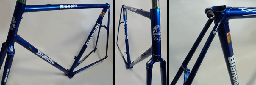 We started with this Bianchi X4, bought through Ebay Netherlands. The frame had previously been painted in the wrong colour, stripped of the original factory triple chrome plating, bead blasted then finished with the wrong decals and was sporting a low quality backyard paint job.