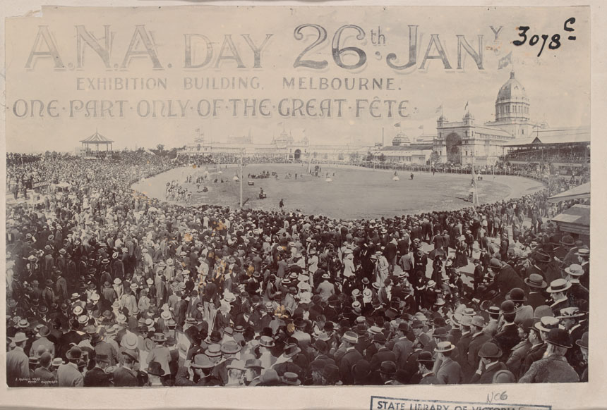The Australian Natives Association A.N.A Wheel Race, 1898 Five Mile Gold Stakes Final. Melbourne Exhibition cycle track, Carlton Victoria. One of the most iconic images in Australian cycling, the crowd assembled as a consequence of the nous and determination of the Australian Natives Association committee.