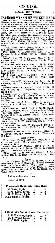 Australian Natives' Association Wheel race Results 1898