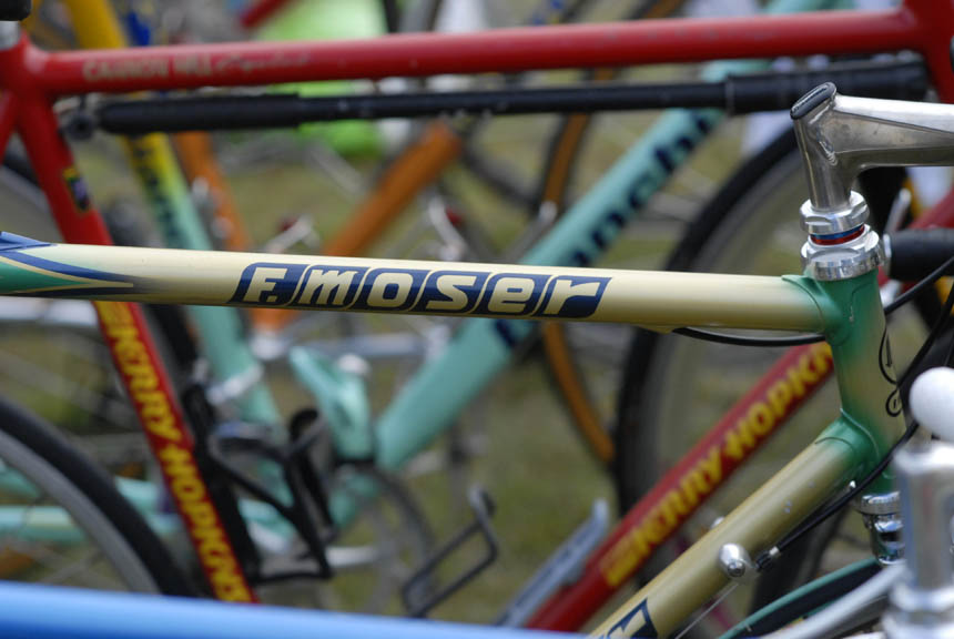 Francseco Moser bike lined up in the row of road bikes