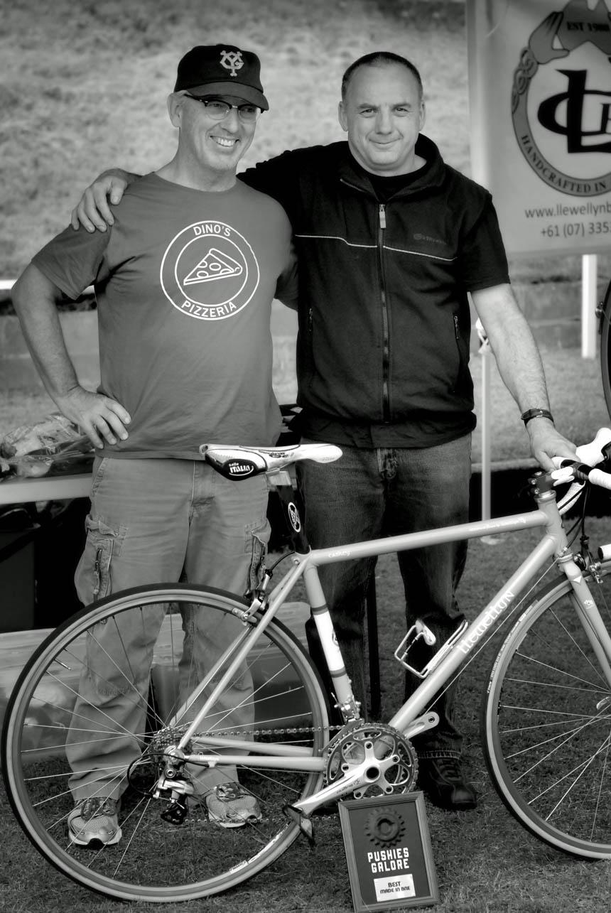 Llewellyn Bikes Darrell McCulloch (right)with John Caskey winner of a best bike prize for made in Brisbane