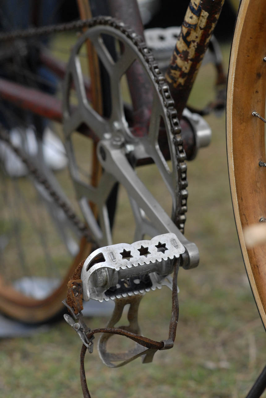 Leather toe straps and star pedals