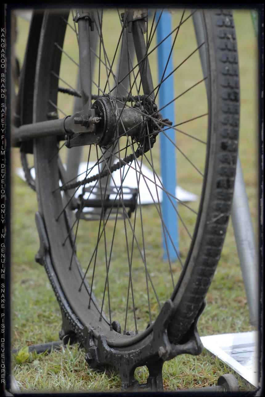 Old bike stand with a shearer bike