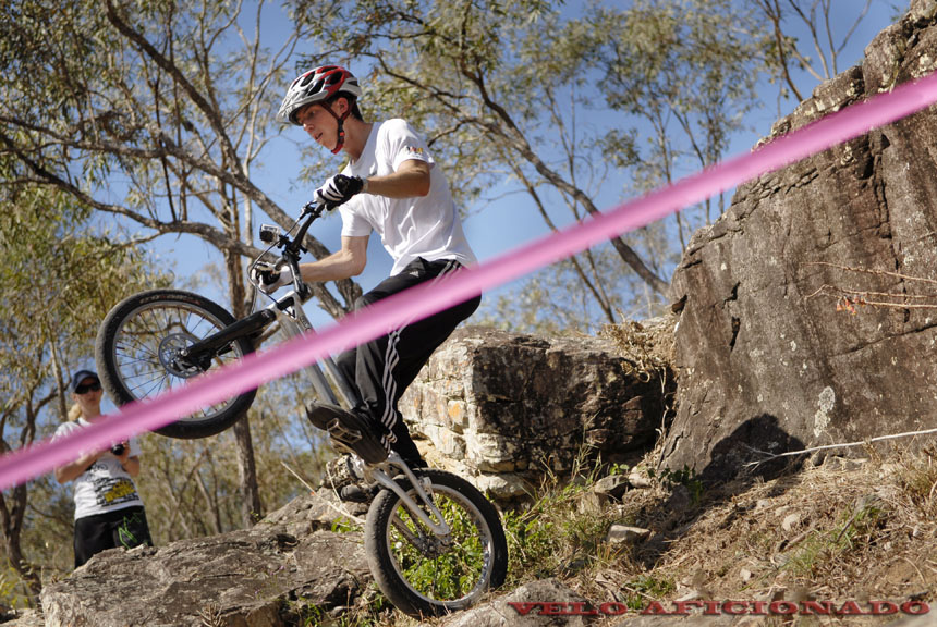 The natural rocky course along the river near Esk in south east Queensland is perfectly suited to bike trials events