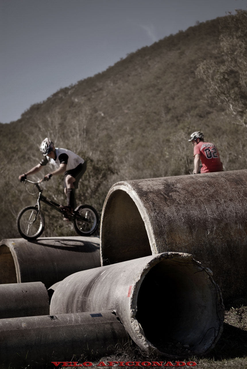 Old pipes for part of the trials course