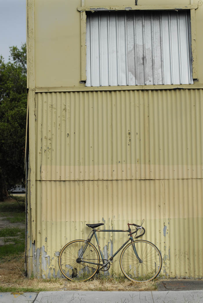 Kevin Fallon's Arrow Bike leant against a West End shed