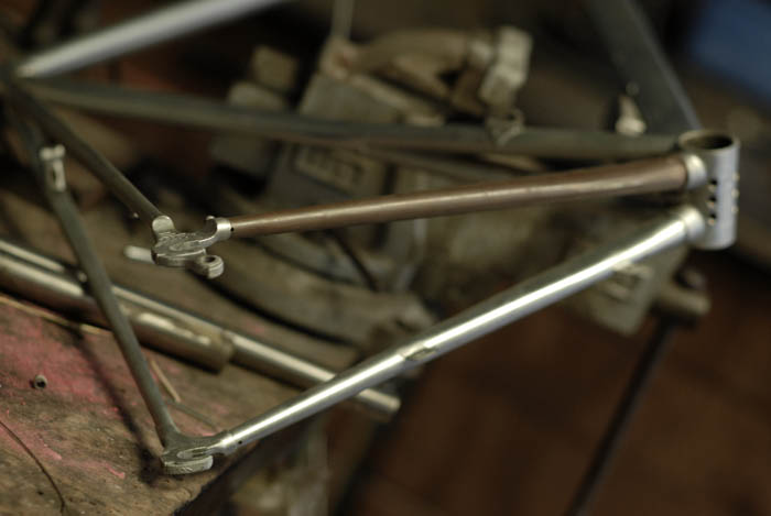 The fork and chain stay were copper plated.