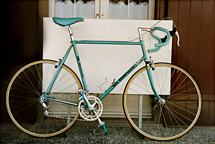 The original Columbus SLX Bianchi X4 team bike that I'd raced for Bianchi Piaggio Switzerland in 1987. When restored the dark blue frame will be finished as close a possible to this.