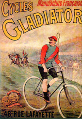 A Gladiator bicycle depicted racing against horses on a racetrack.