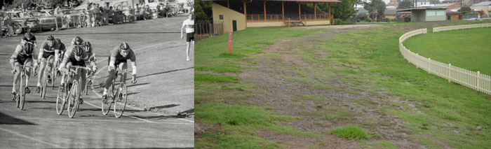 Racing at Glen Innes Velodrome in 1976 and right the same finish line in 2014