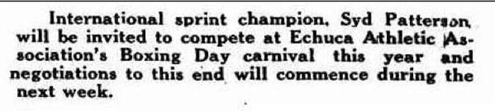 Sid Patterson invited to race at Echuca cycle races in 1954, organised by the Echuca and District Athletic Association.