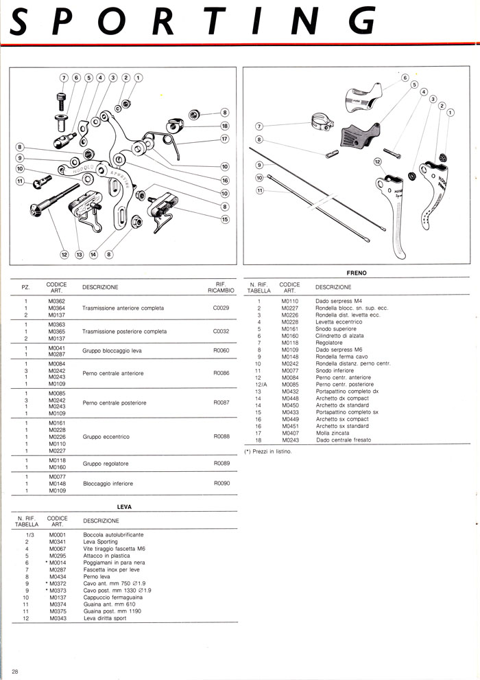 Modolo Sporting brakes parts and exploded diagram