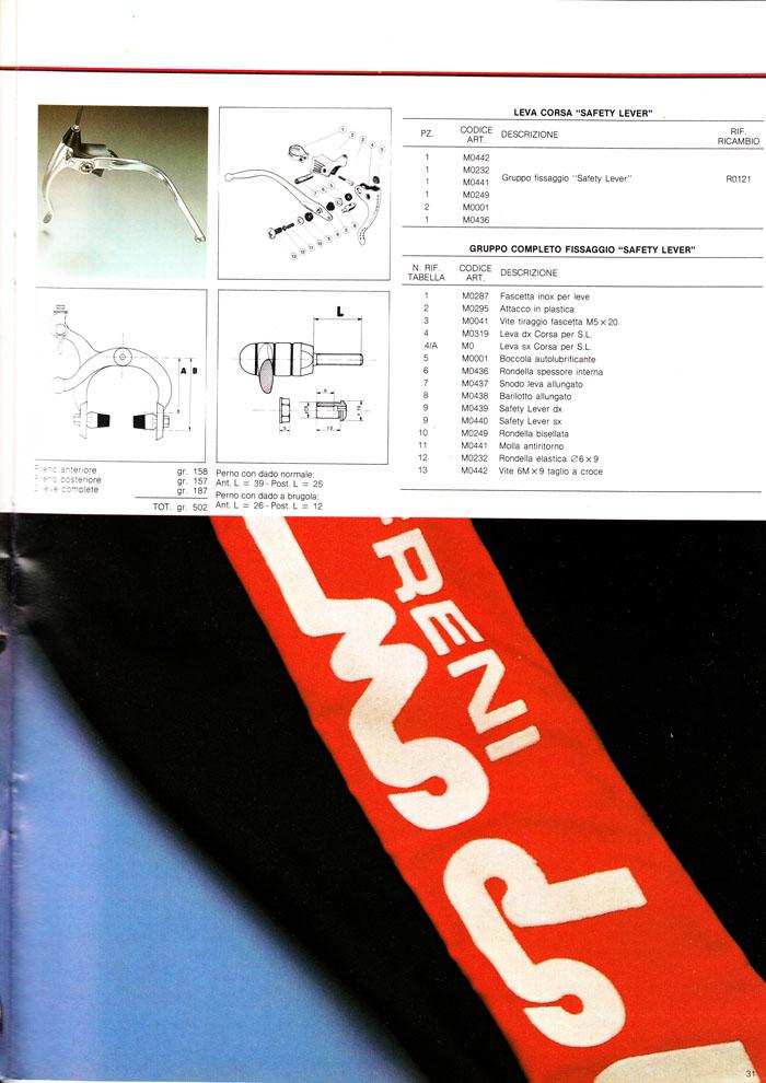Modolo Corsa brakes dimensions and parts diagram