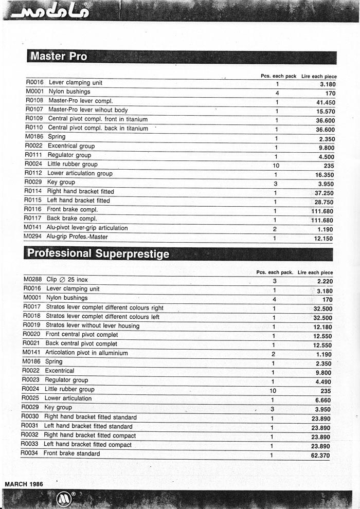 Modolo March 1986 factory price guide page 6