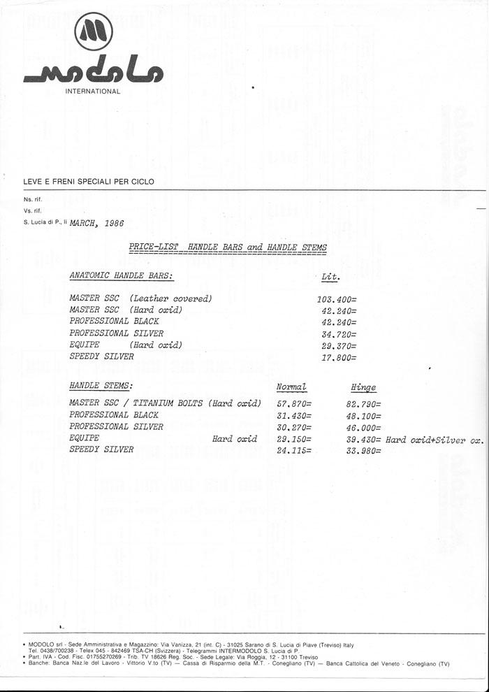 Modolo Handlebars factory price March 1986