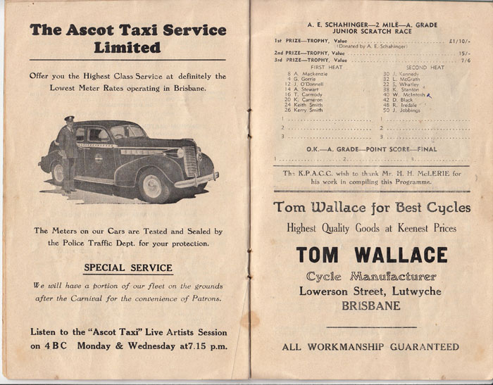 Tom Wallace had an advert for his Local Cycle shop in Brisbane