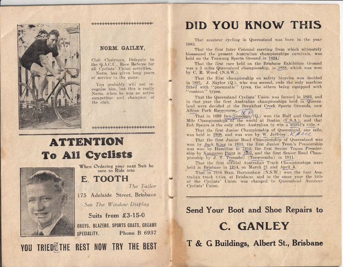 A rare picture of Norm Gailey as a cyclist. Anyone involved in Australian cycling for any length of time will know of Norm Gailey, more in his official roles. Norm was a stalwart of the Queensland cycling scene for decades.