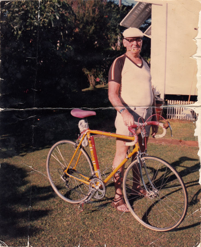 "Arthur Dows with his no-name bike in the 1980's, definitely no ""not up for discussion"" Frezoni built by Joe."
