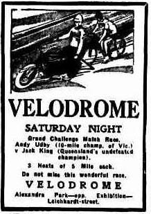 The sporting spectacle at Alexandra Park Velodrome Brisbane.