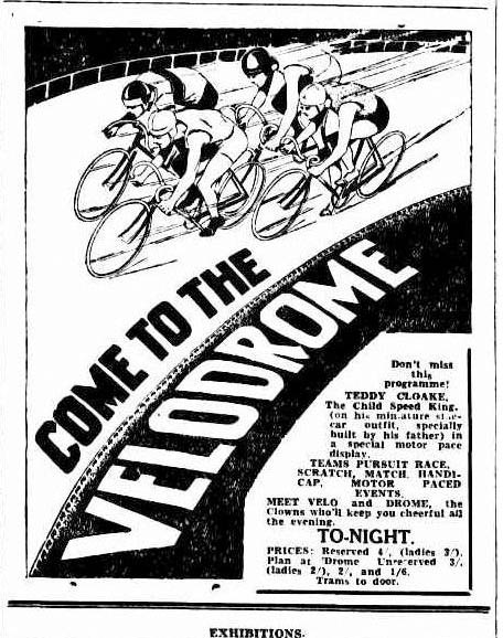 Brisbane Velodromes Ltd poster for their sensational board track at Fortitude Valley.
