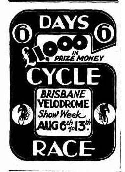 Six Day race Brisbane Velodrome poster.
