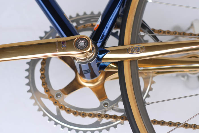 C Record Campagnolo cranks Special ICS cut-out Gold Plated Crank Arms