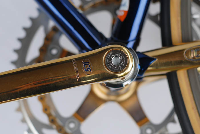 ICS Design logo pantographed into C Record Campagnolo gold plated left crank arm.