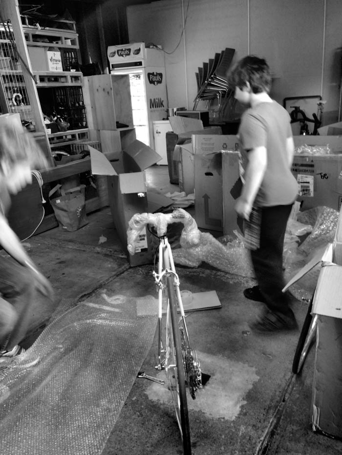 The big job begins Friday afternoon, unpacking Greg's rare custom bicycles