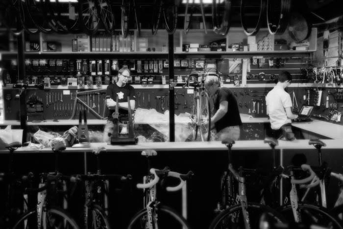 Ben Smith talking bikes with Greg Softley at the Crankstar Bespoke bicycles workshop.