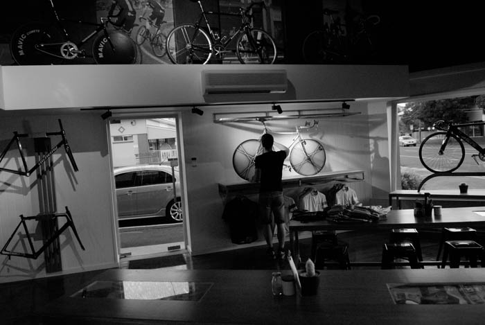 As the sun went down Greg Softley's bikes began to fill the room at Crankstar Bespoke