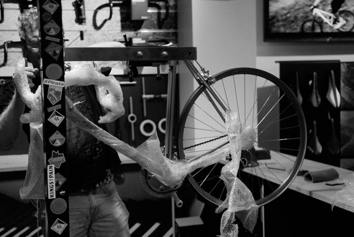 Greg begins unwrapping the Cinelli Laser