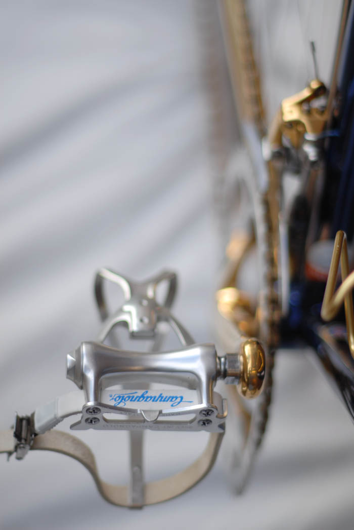 Campagnolo C - Record rpad pedals with Campagnolo toe straps and clips.