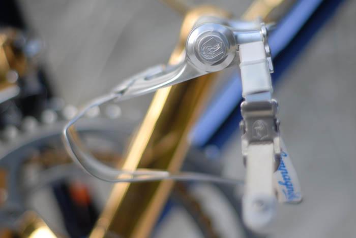 Campagnolo Corsa Record road pedals and toe strap.