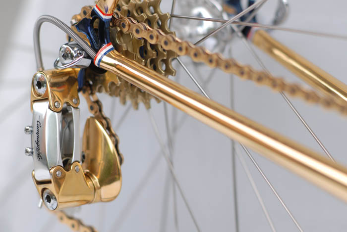 Gold plated ICS bicycle chain stays.