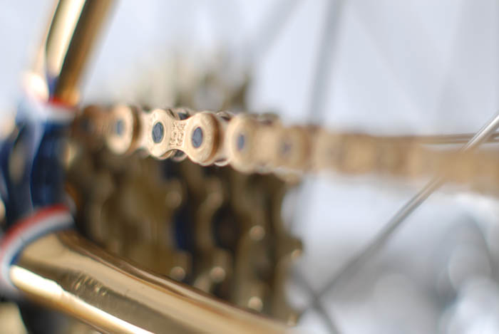 Close up of gold Rohlhoff chain.