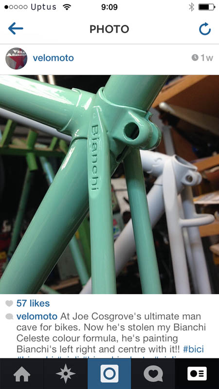 """Bianchi Rekord painted with Cycle Design Celeste colour """"Formula""""."""