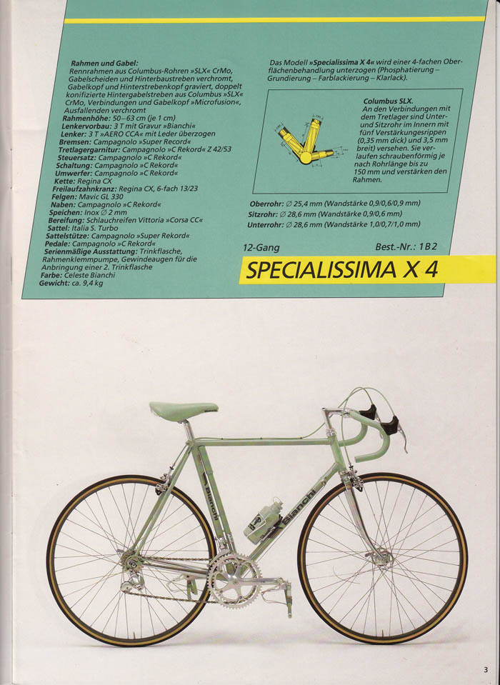 Take a look at the head tube on this one. Its's a two tone Celeste paint job on a factory example of one of the first ever Bianchi X4's.