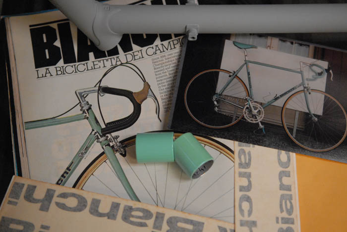 A 1980's Bianchi advert, a picture of my old Bianchi X4 that we were colour matching to and Joes light celeste light base colour sample that we started from plus the effects colour sample for Mega Pro Bianchi's.