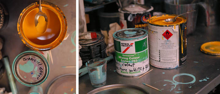 Here you can see the Spies Hecker stock celeste with Joe's notes on the tin to add more white. Using glass beakers to mix the colour and rudimentary tools, like tooth picks and a tablespoon.