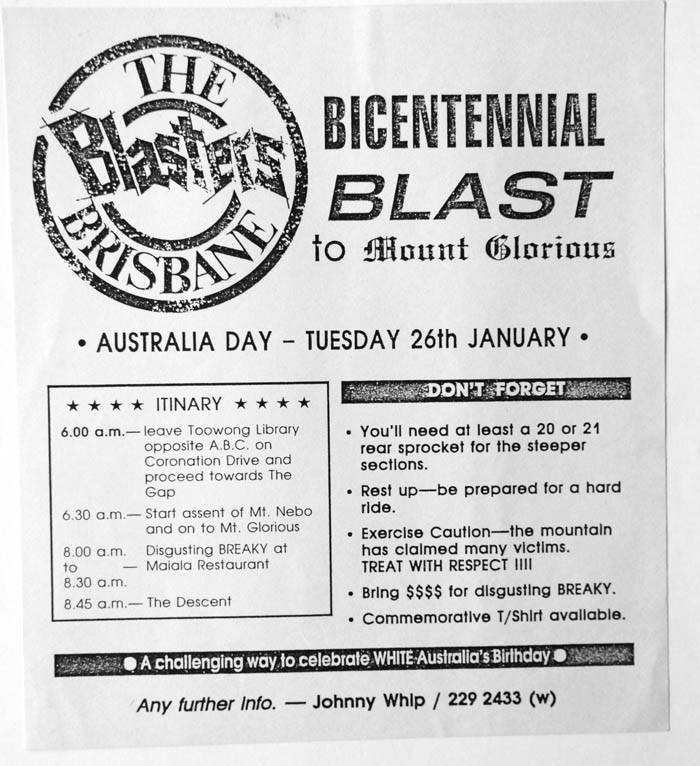 The Australia Day ride, another Brisbane Blasters initiative to help foster cycle sport and group riding activities in Brisbane.