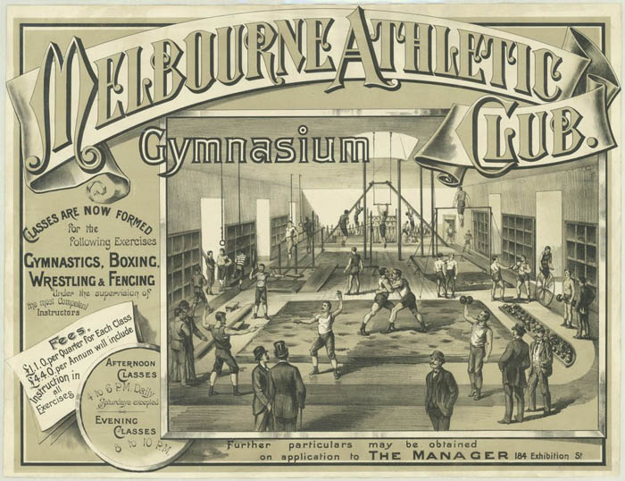 Melbourne Athletic Club had a cycle track for penny farthings at their gymnasium. Tuition for beginner riders at indoor venues was common during that era.