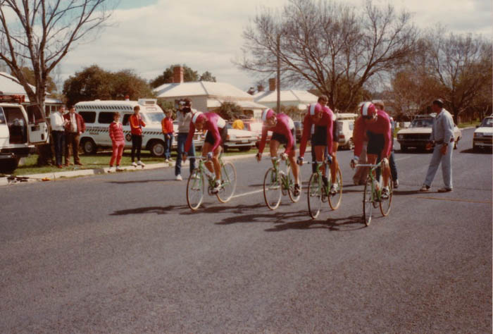 Kerry Carmichael, Greg Dwiar, Jeff Leslie and Keith Lane at Bacchus Marsh on Sunday the 17th of September 1985.