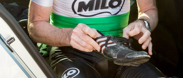 Murray kept his 1986 Adidas cycling shoes all these years. Photo credit - Matt Leasegang
