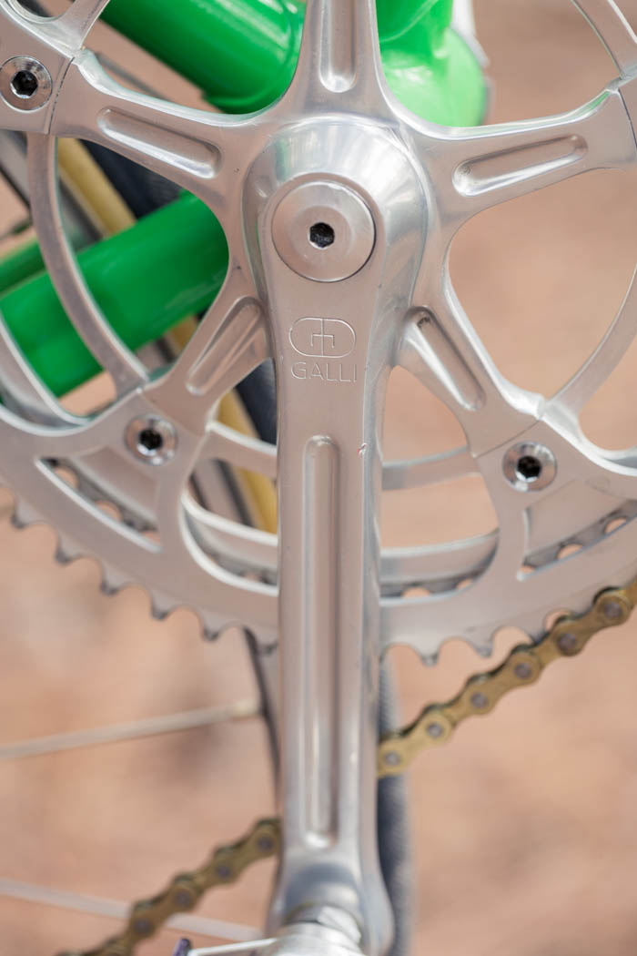 Galli criterium crank with it's 54T, 49T chain rings.