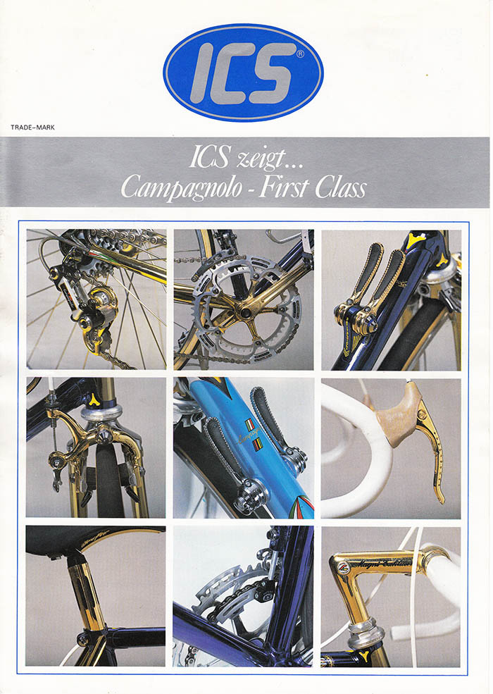 ICS bike means first class. A catalogue from the early 1980's showing Campagnolo compnents that have been given the Ital Cicli Systems gold or chrome treatment.