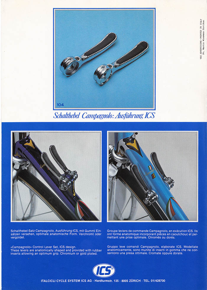 ICS Zurich re-worked Campagnolo Super Record gear shift levers with rubber inserts, anatomic design. Available in gold or chrome finish.