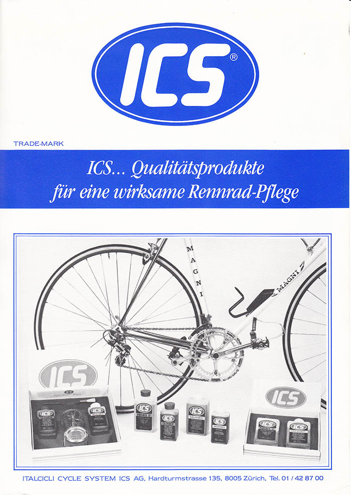 ICS Magni in the background of the ICS range of bicycle cleaning products.