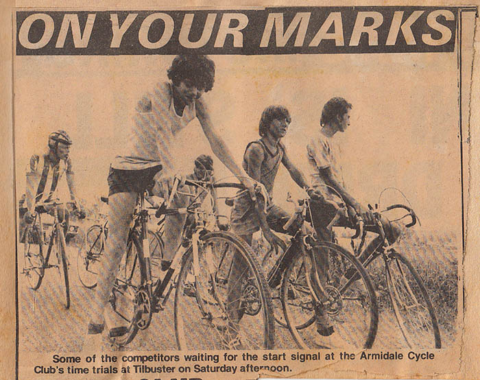 One of the very first club races near Tilbuster, it was a buster of a road with a climb a few k's from the start that has a rise in it averaging about 20%. You can see the pedigree of the Malvern Start racer, I'm on the far right of the picture. An assortment of town bikes normally designated for the ride to school and back.