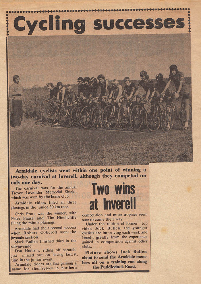 By the time we had some coaching lessons from Jock Bullen, a few members of the Armidale Cycling Club were beginning to win races away from home.